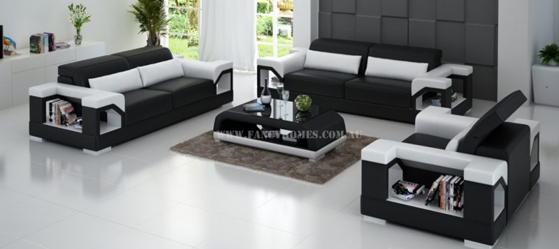 Fancy Homes Viva-D lounges suites leather sofa in black and white