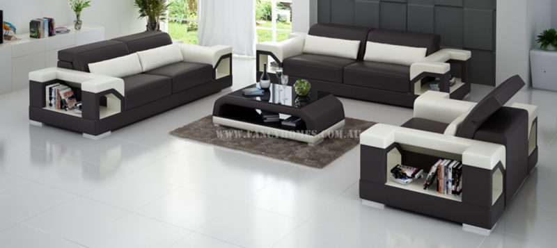 Fancy Homes Viva-D lounges suites leather sofa in brown and white leather