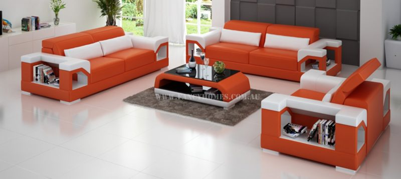Fancy Homes Viva-D lounges suites leather sofa in orange and white leather