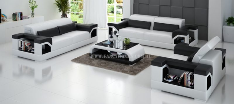 Fancy Homes Viva-D lounges suites leather sofa in white and black leather