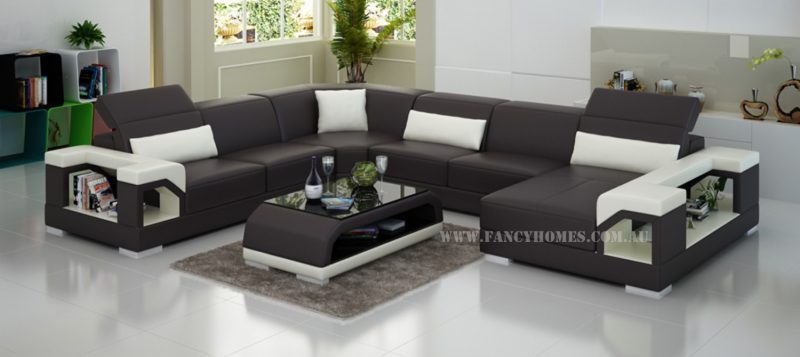 Fancy Homes Viva modular leather sofa in brown and white leather