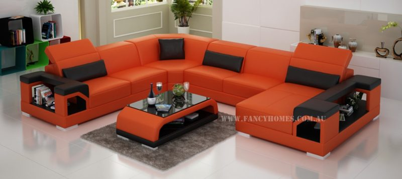 Fancy Homes Viva modular Leather sofa in orange and black leather