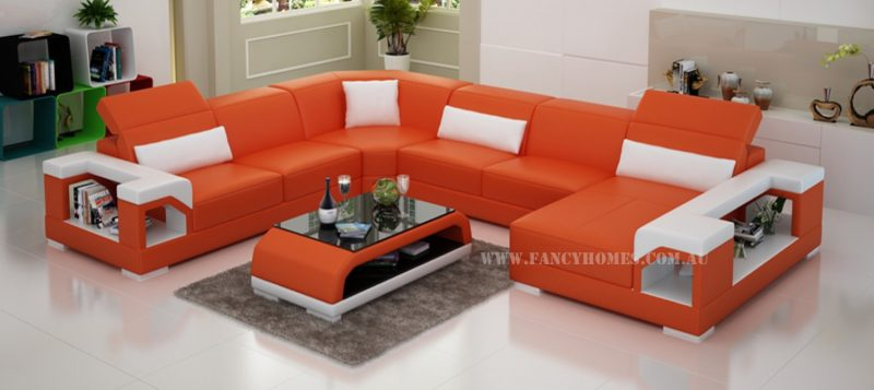 Fancy Homes Viva modular leather sofa in orange and white leather
