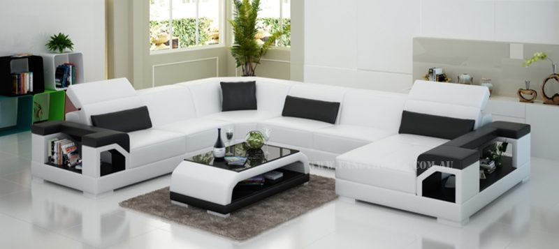 Fancy Homes Viva modular leather sofa in white and black leather