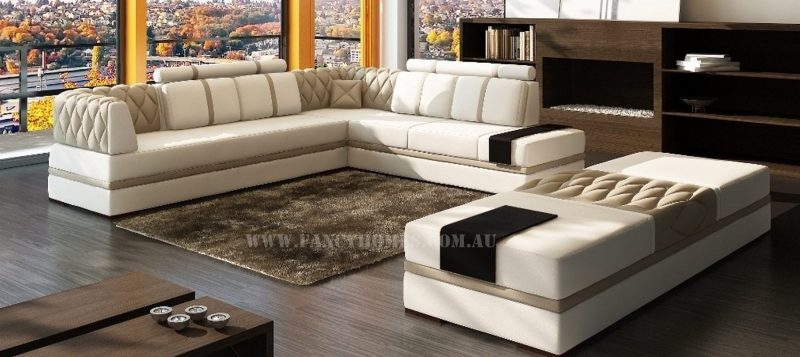 Fancy Homes Zeta corner leather sofa in white and beige leather featuring built-in side tables and large ottomans