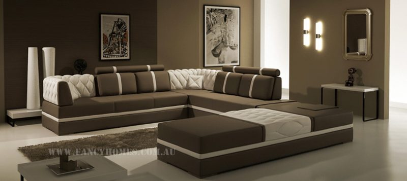 Fancy Homes Zeta corner leather sofa in brown and white leather