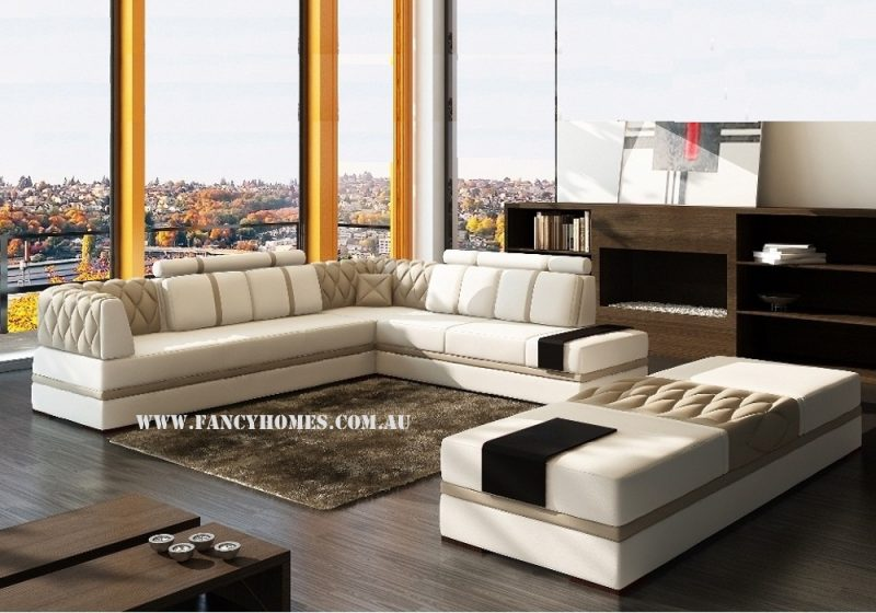 Fancy Homes Zeta corner leather sofa in sandy colour and white leather