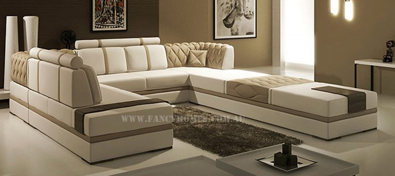 Fancy Homes Zeta corner leather sofa in white and beige leather with in-built side table functions