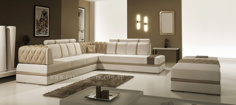 Fancy Homes Zeta corner leather sofa in white and beige leather