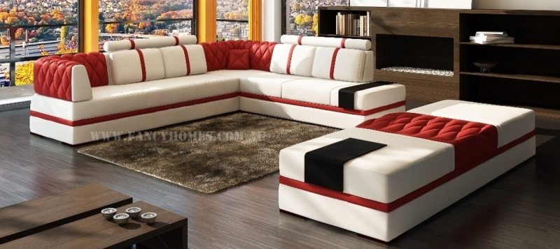 Fancy Homes Zeta corner leather sofa in red and white leather