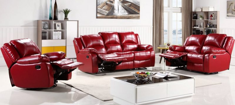 Fancy Homes Kelly recliner leather sofa in red leather upgradable to electrical recliners