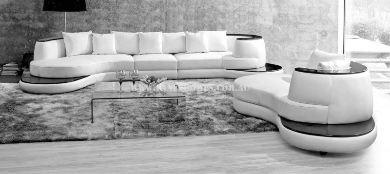 Fancy Homes Wave chaise leather sofa