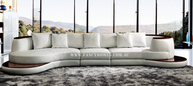 Fancy Homes Wave chaise leather sofa in white leather