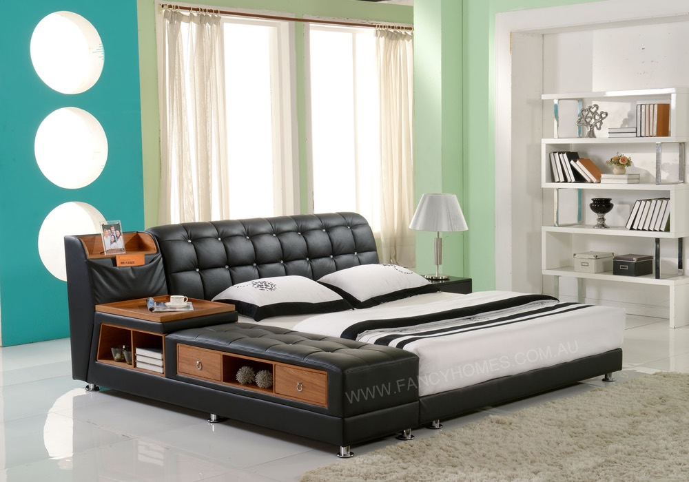 Santino Contemporary Italian Leather Bed Frame Fancy Homes