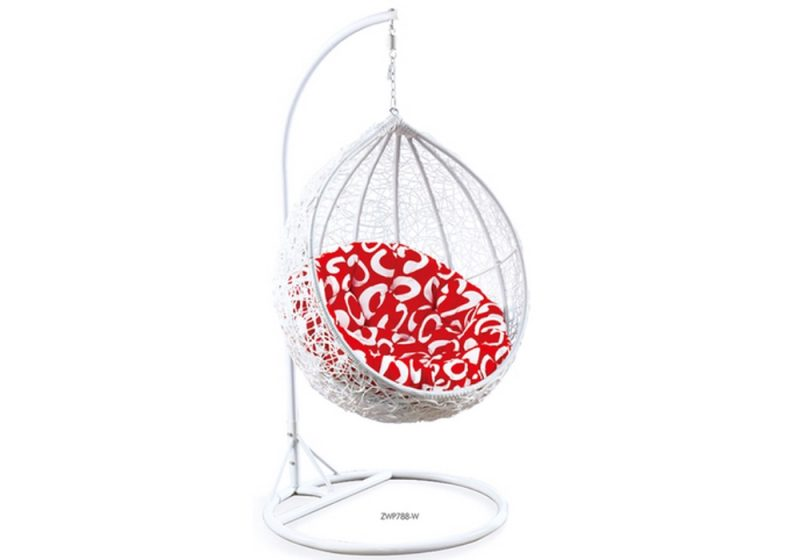 Fancy Homes ZWP788-W hanging chair white wicker and red cushion