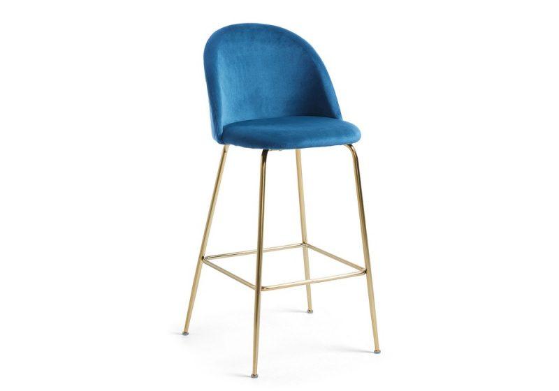bar stool blue velvet