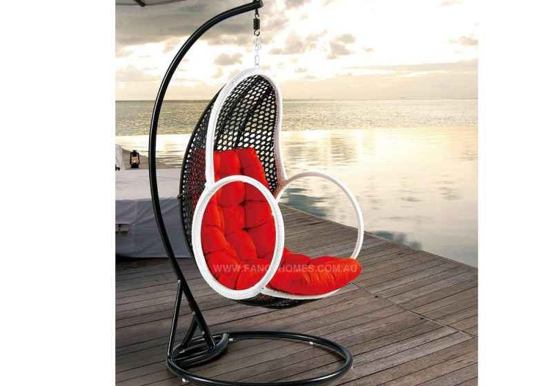 Fancy Homes BP648-BW hanging chair, hanging chairs black white wicker and dark red cushion