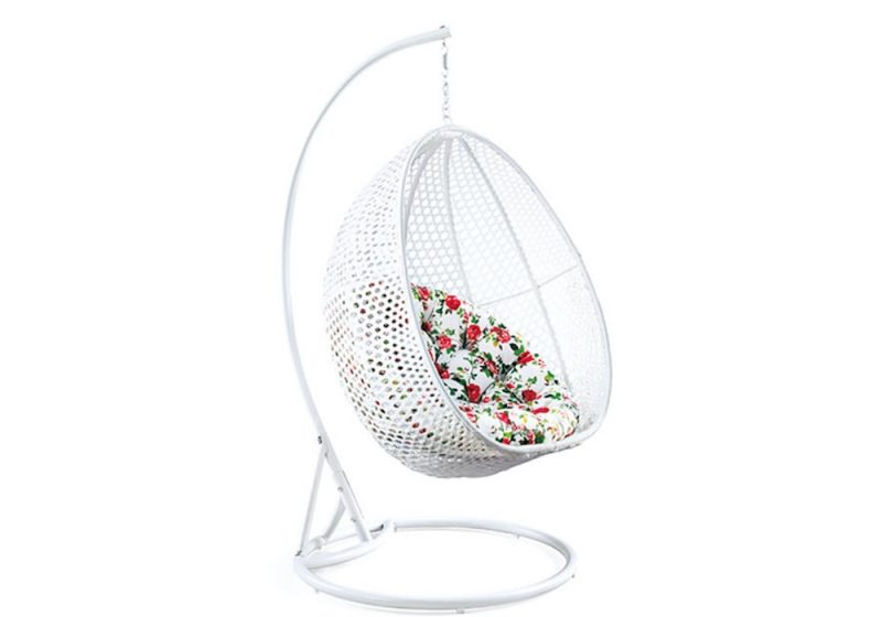 Fancy Homes BP714-B hanging chair white wicker and floral cushion