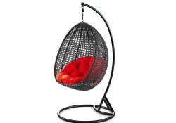 Fancy Homes BP714-B hanging chair black wicker and red cushion