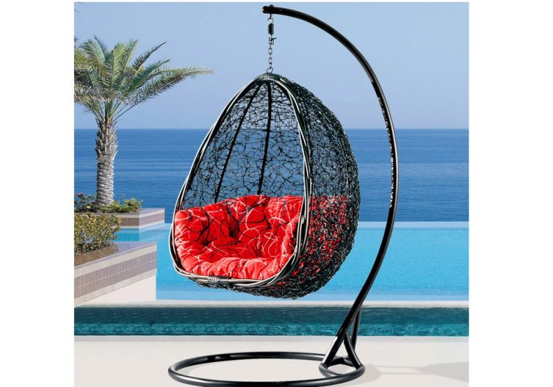 Fancy Homes BP732-B hanging chair PE wicker, water-resistant cushion and aluminium frame. Suitable for both outdoor and indoor use
