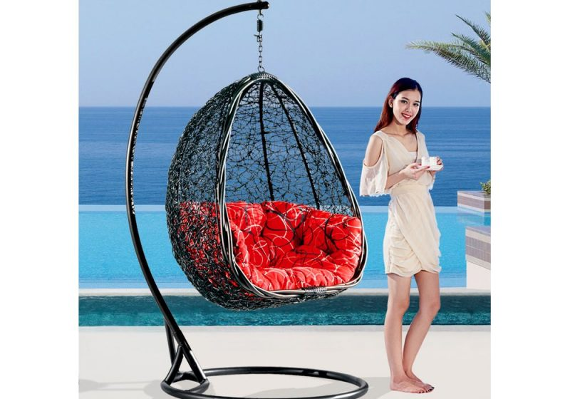 Fancy Homes BP732-B hanging chair black wicker and red cushion
