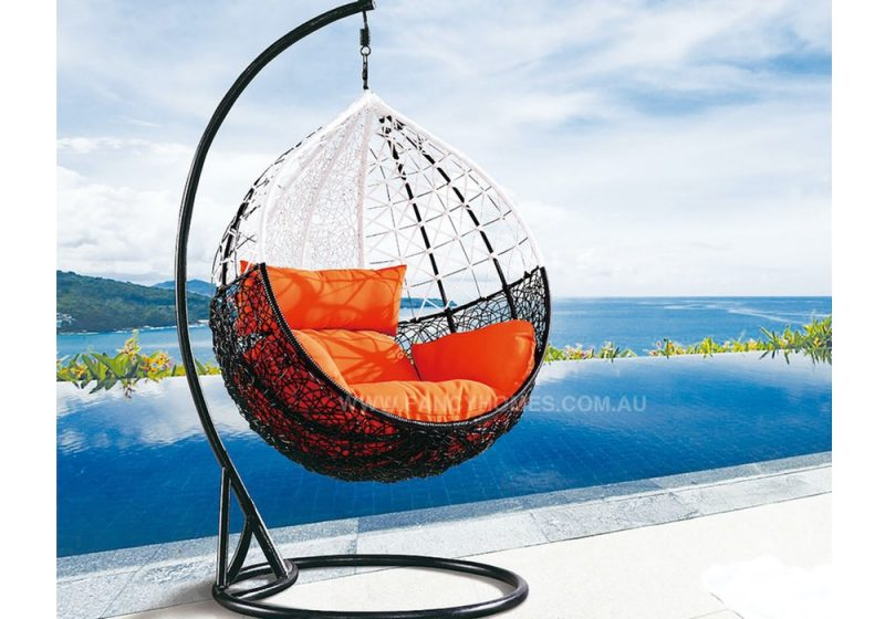 Fancy Homes BP743-BW hanging chair, hanging chairs black white wicker and orange cushion