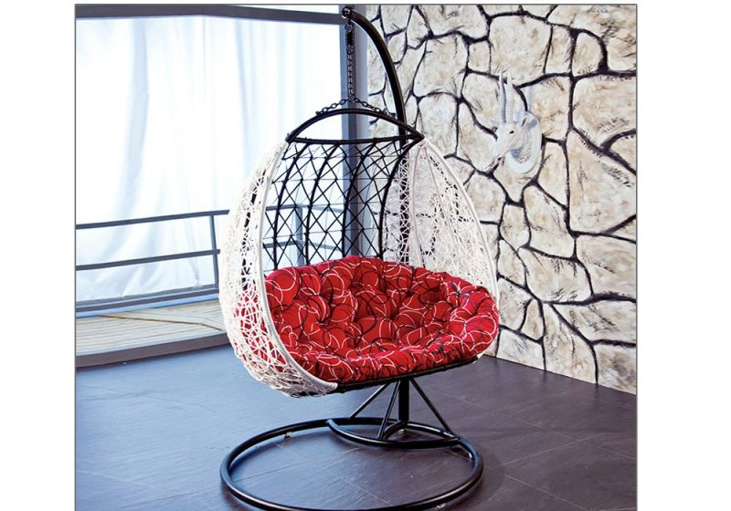 Fancy Homes BP803-BW double hanging chair black white wicker and red cushion