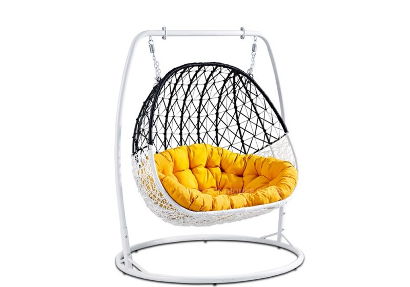 Fancy Homes BP804-BW double hanging chair with black and white wicker and yellow cushion