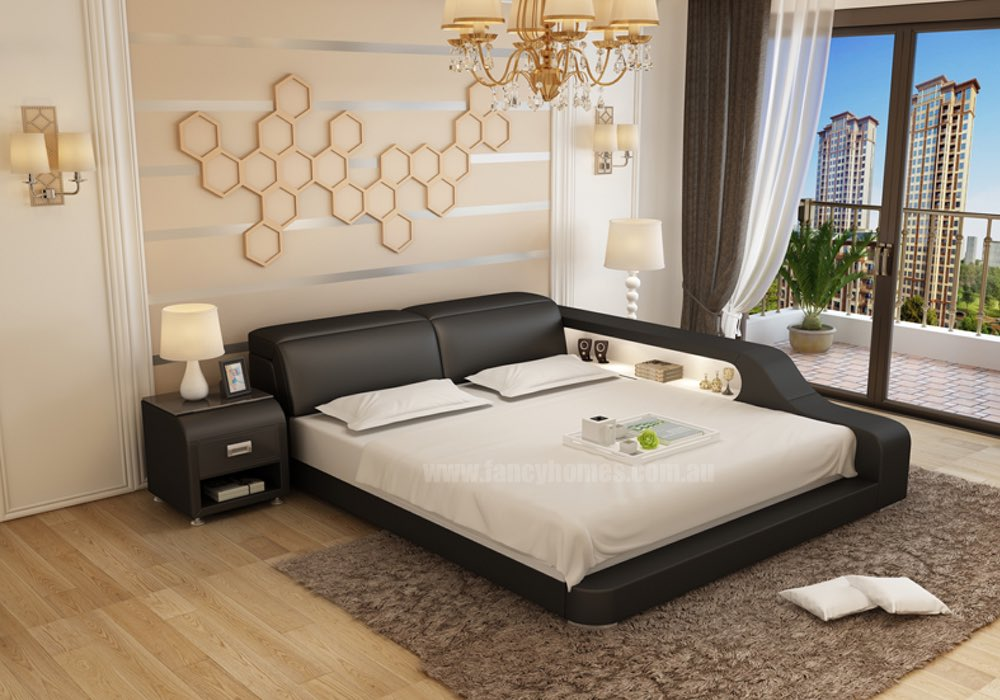 Jeri Contemporary Italian Leather Bed Frame Fancy Homes