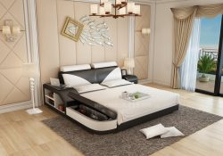 Fancy Homes Kate Italian Leather Bed Frame, Leather Beds in black and white featuring in-built side table and storage ottoman