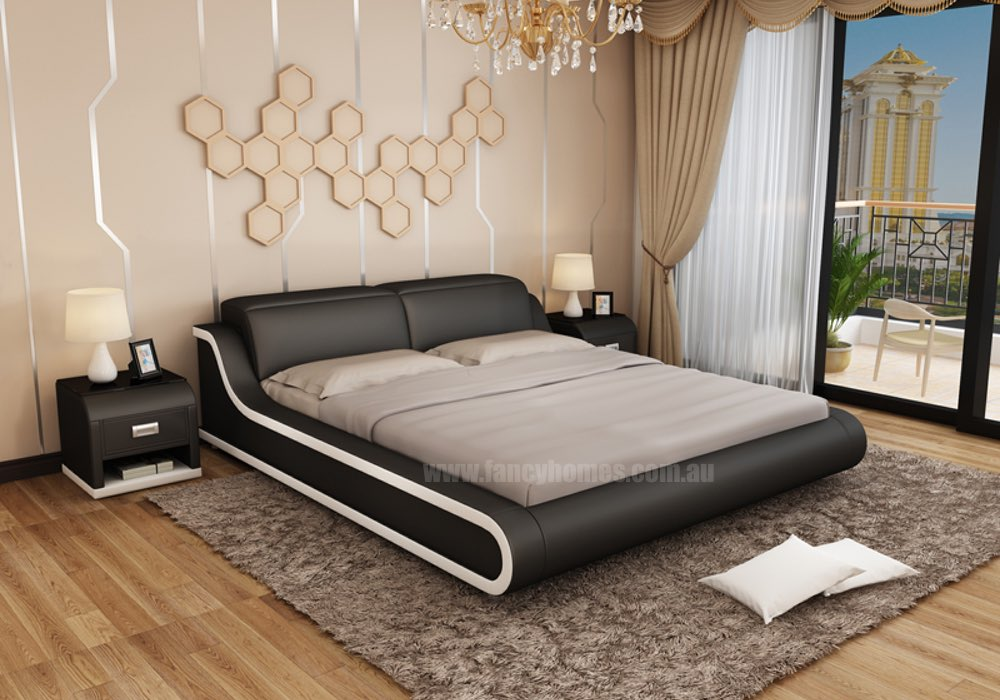 Kiki Contemporary Italian Leather Bed Frame Fancy Homes