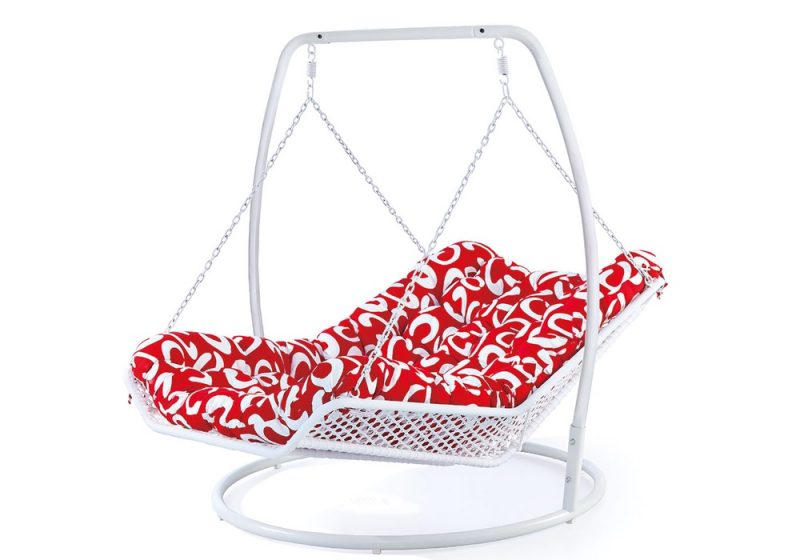 Fancy Homes WP501-BL hanging chair white wicker and red cushion