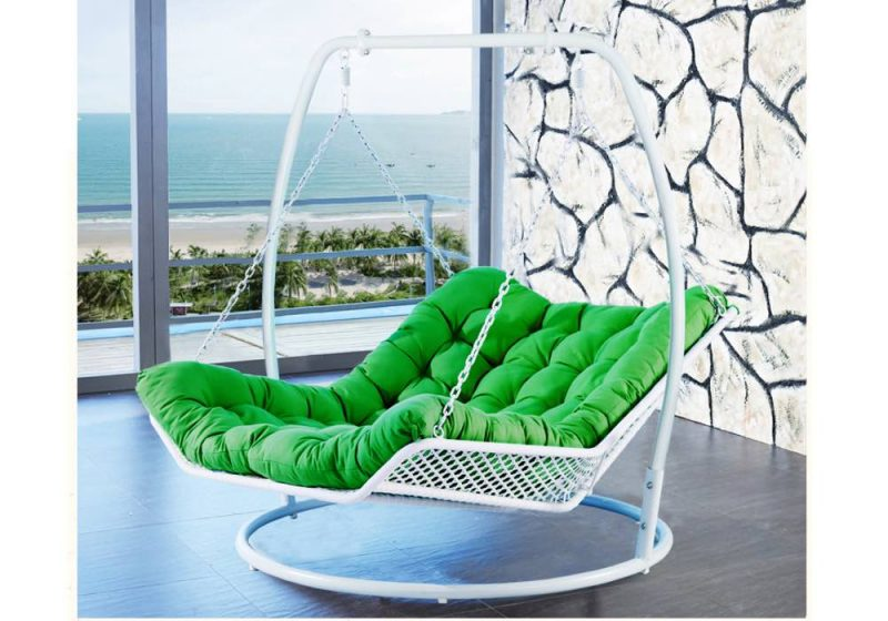 Fancy Homes WP501-BL hanging chair white wicker and green cushion