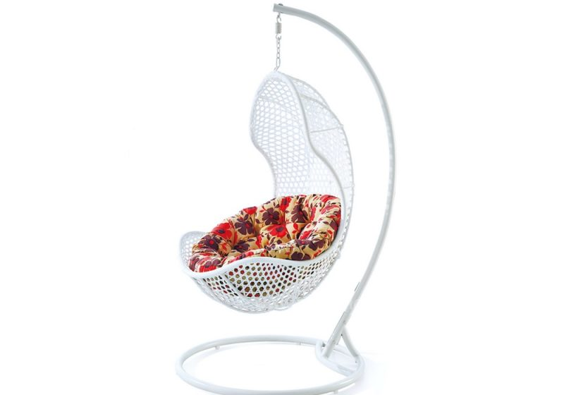 Fancy Homes WP630-W hanging chair white wicker and floral cushion