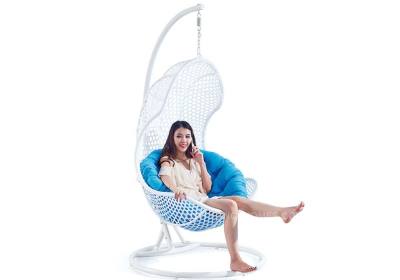 Fancy Homes WP630 Hanging chair white wicker and aqua cushion