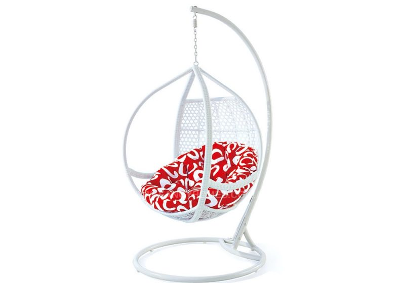 Fancy Homes WP636-W hanging chair white wicker and red cushion