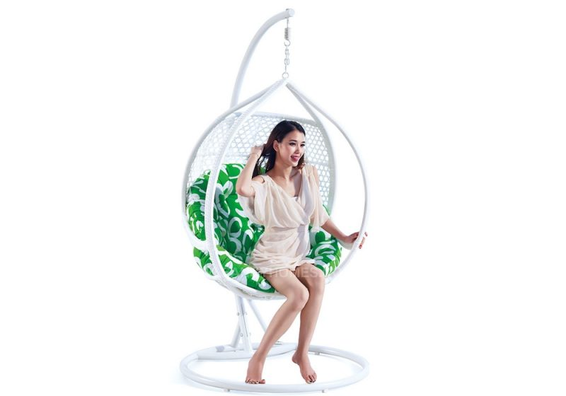 Fancy Homes WP636-W hanging chair white wicker and green cushion