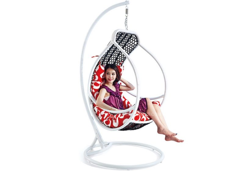 Fancy Homes WP636 hanging chair, hanging chairs black white wicker and red cushion