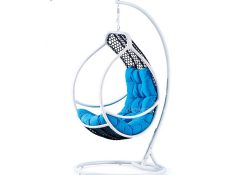 Fancy Homes WP636-BW hanging chair, hanging chairs black white wicker and aqua cushion