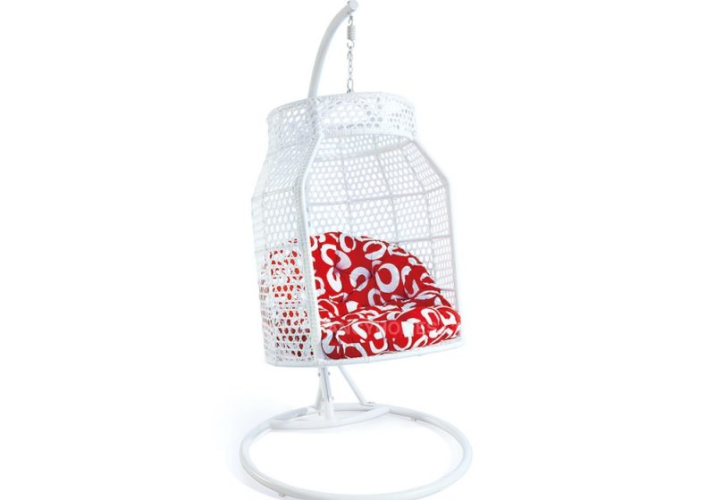 Fancy Homes WP638-W hanging chair white wicker and red cushion