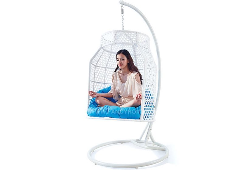 Fancy Homes WP638 hanging chair white wicker and aqua cushion