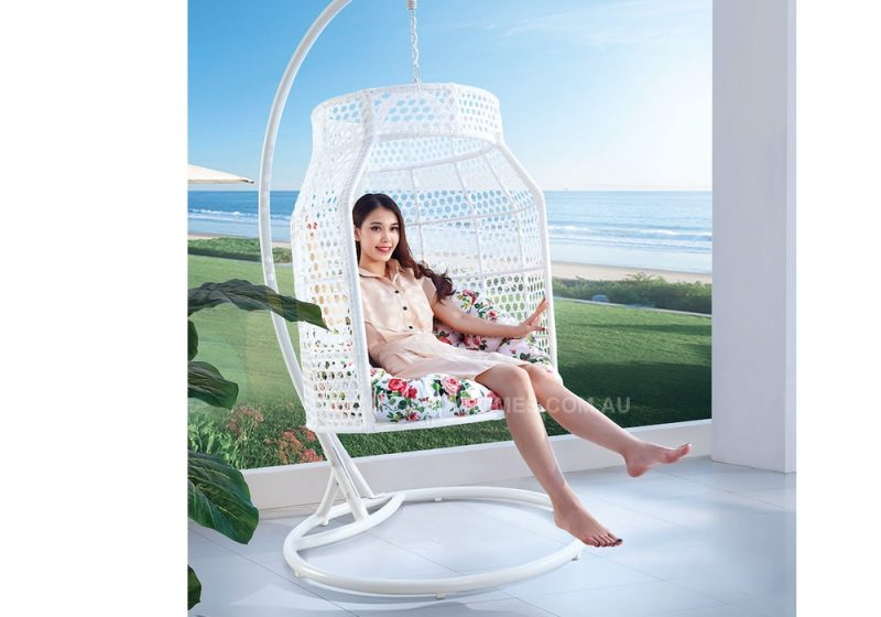 Fancy Homes WP638-W hanging chair white wicker and floral cushion