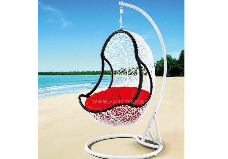 Fancy Homes WP641-BW hanging chair, hanging chairs white black wicker and red cushion