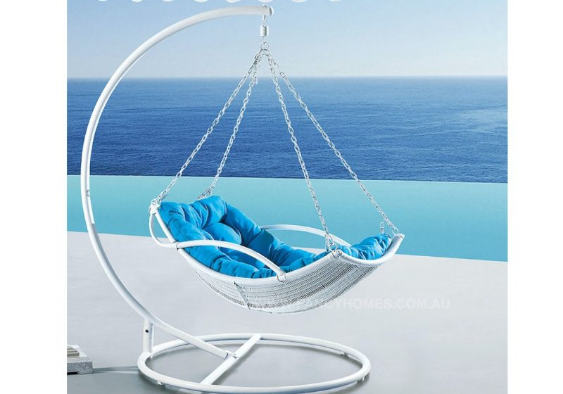 Fancy Homes WP909-W hanging chair white wicker and aqua cushion
