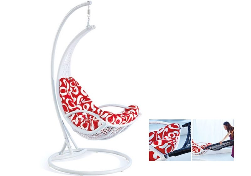 Fancy Homes WP916-BW hanging chair, hanging chairs white and black wicker with red cushion