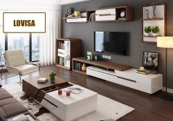 Fancy Homes Lovisa Storage Coffee Table and TV unit in brown and white