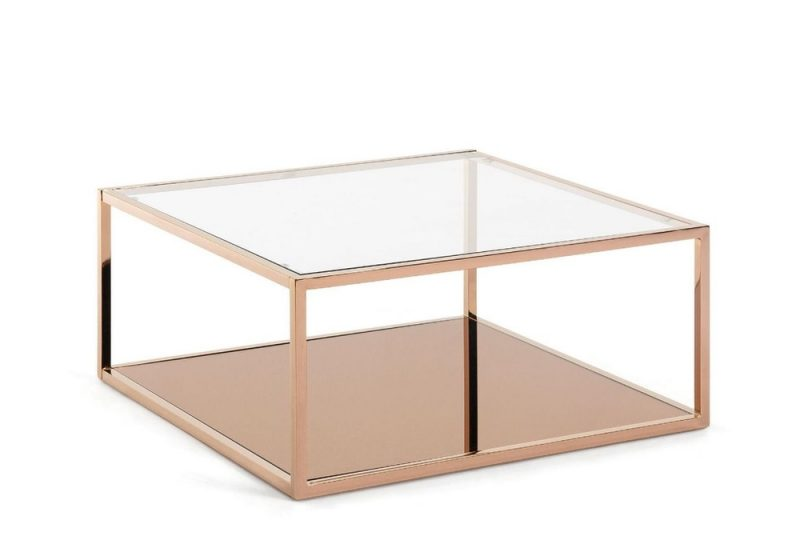 Fancy Homes Kadia square coffee table with glass top