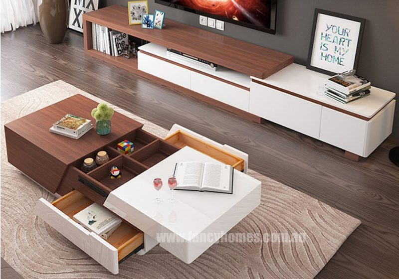 Fancy Homes Lovisa storage coffee table and TV unit features heaps of hidden storages