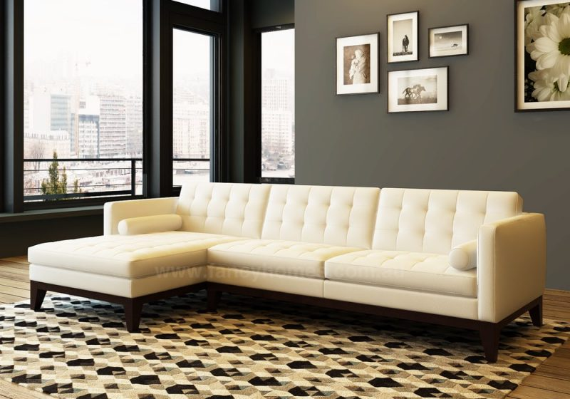 Fancy Homes Concetta-B chaise leather sofa in beige leather