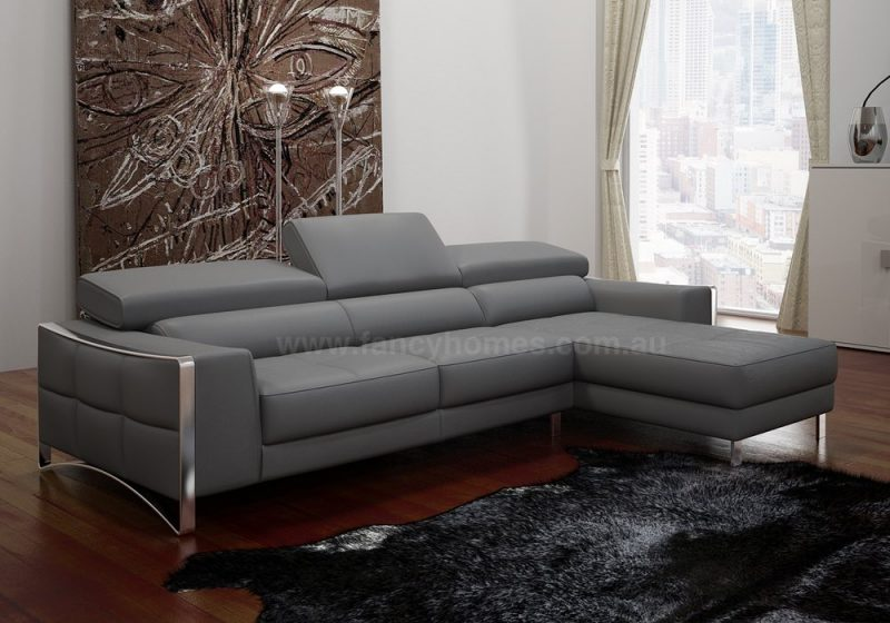 Fancy Homes Vito-B chaise leather sofa with adjustable headrests and polished stainless steel legs